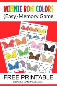 Free printable Disney Minnie Mouse bow colors memory game