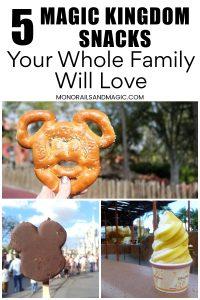 Magic Kingdom snacks, including Mickey pretzel, Mickey ice cream bar, and citrus swirl.