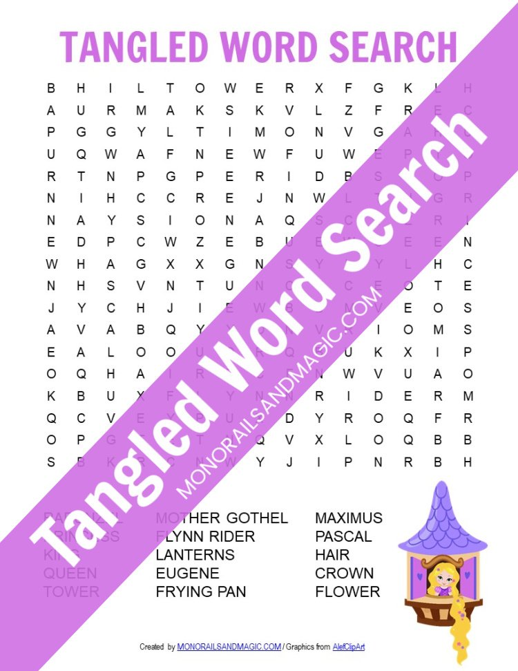 Tangled word search free printable for kids.