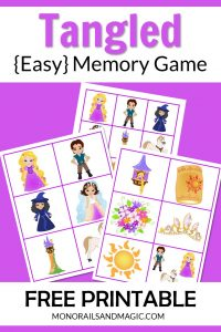 Free printable Tangled memory game for kids