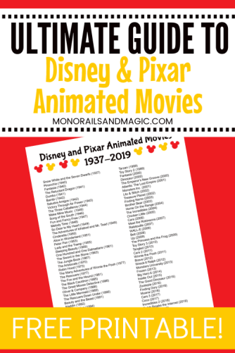 Printable list of Disney and Pixar animated movies from 1937 to 2019