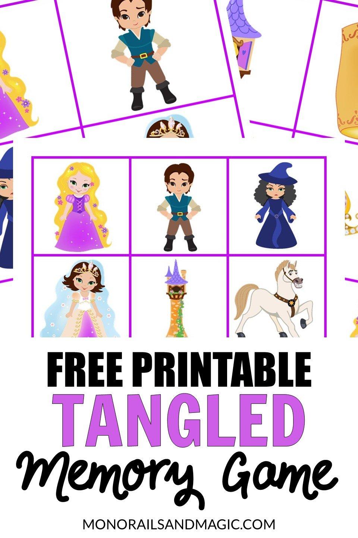 Free printable Tangled memory game for kids.