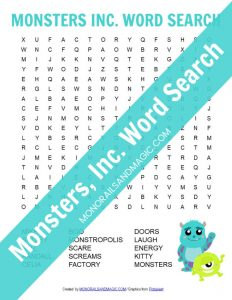 Monsters, Inc. Word Search Free Printable