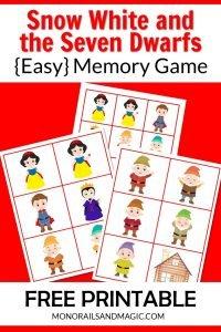 Snow White and the Seven Dwarfs Memory Game Free Printable