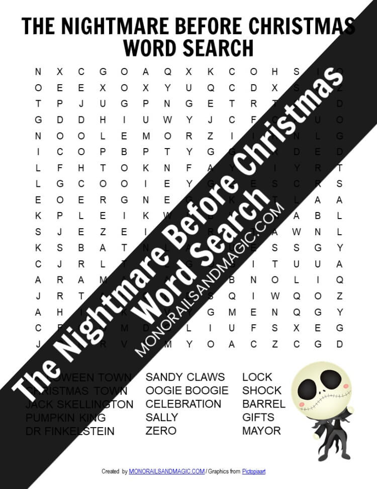 The Nightmare Before Christmas Word Search